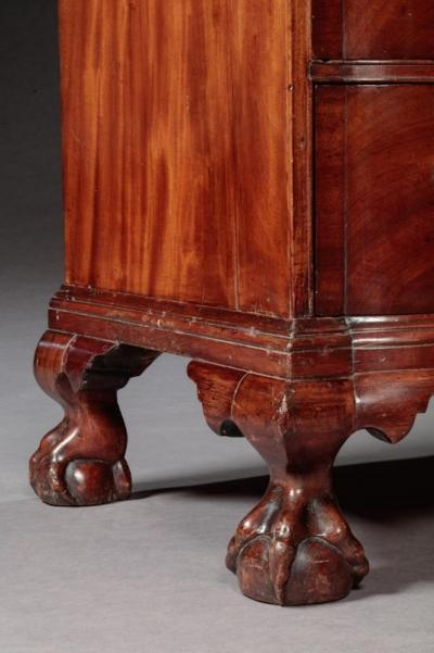Chippendale Oxbow Ball and Claw foot Blocked End Chest