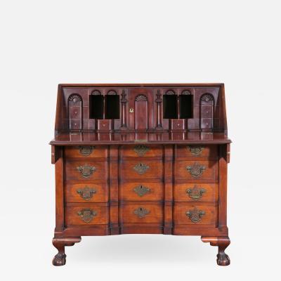 Chippendale Style Carved Mahogany Slant Front Secretary Desk