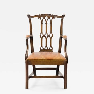 Chippendale Style English Antique Armchair in the Gothic Taste Circa 1870