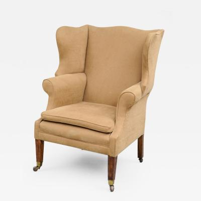 Chippendale Style Mahogany Ash Wing Chair