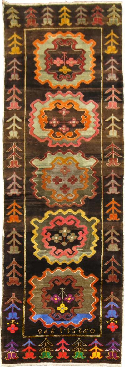 Chocolate Brown Runner Dated 1978 rug no j1746