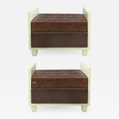 Chocolate Naugahyde Lacquered Wood Benches circa 1940