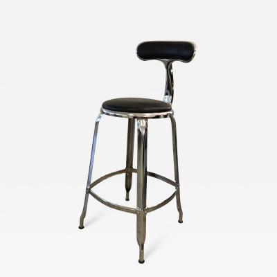 Chorme Plated Counter Height Nicolle Stool with Leather Upholstery