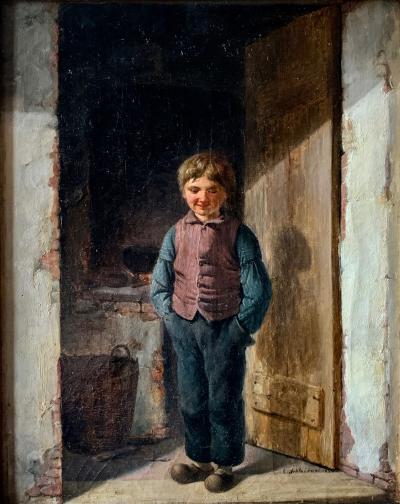Christian Andreas Schleisner Christian Andreas Schleisner 1810 1882 Boy in Doorway Danish