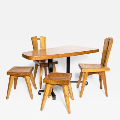 Christian Durupt Set Table Chairs and Stool Christian Durupt for Perriand Circa 1960