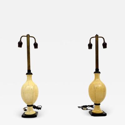 Christian Fersen Pair Christian Fersen Luxury Table Lamps Bone Lacquer Monterrey Mexico 1950s