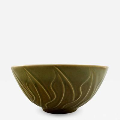 Christian Poulsen Bing Grondahl B G Stoneware bowl decorated with celadon glaze and leaves
