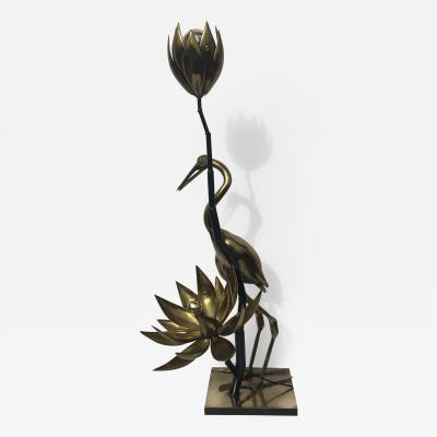 Christian Techoueyres Brass Lotus Floor Lamp by Techoueyres