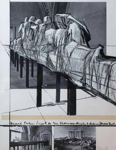 Christo Wrapped Statues Silkscreen Photo Collage circa 1988