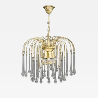Christoph Palme Waterfall Chandelier Brass and Glass Germany 1970s