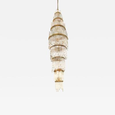 Christophe Palme Austrian Crystal and Brass Chandelier by Christoph Palme