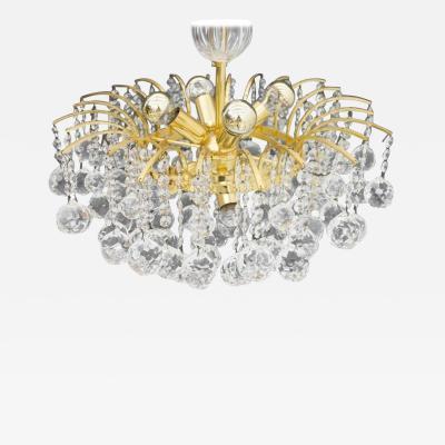 Christophe Palme Christoph Palme Chandelier Gilded Brass and Crystal Glass Palwa 1960s