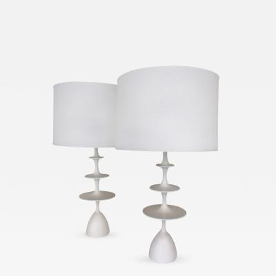 Christopher Anthony Ltd Pair Gesso Metro Table Lamps