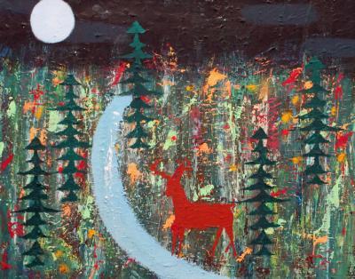 Christopher Callahan Deer by Creek