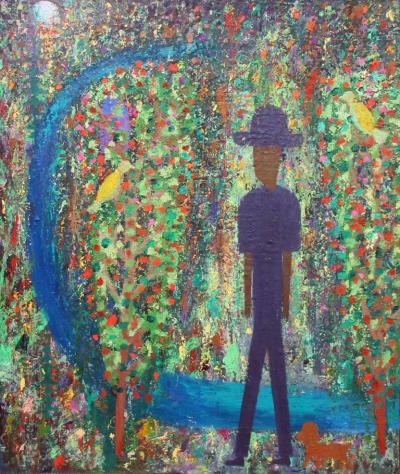 Christopher Callahan Hiker and 2 Yellow Birds