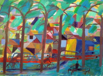 Christopher Callahan Park Scene with Bicycles and Bench