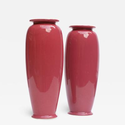 Christopher Dresser A Pair of Rose Glazed Christopher Dresser Vases by Ault Pottery 1890s