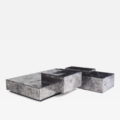Christopher Gentner Landscape Steel and Pewter Coffee Table by Designer Christopher Gentner