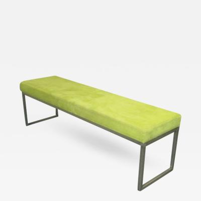 Chrome Bench Upholstered in Suede