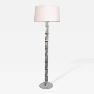Chrome Floor Lamp with Bamboo Motif