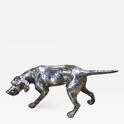 Chrome Sculpture Hunting Dog Tuscany Italy 1970s
