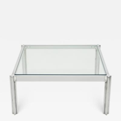 Chrome aluminium George Ciancimino square coffee table 1975