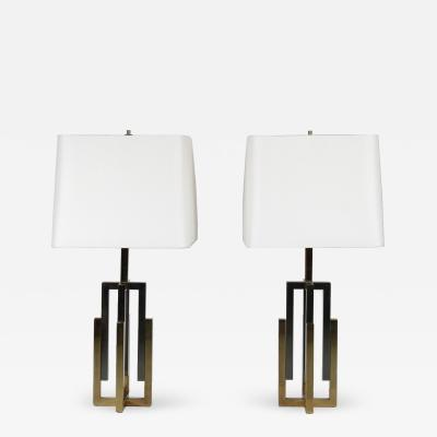 Chrome and Brass Table Lamps attributed to Romeo Rega Italy 1970