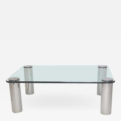 Chrome and Glass Coffee Table Leon Rosen for Pace