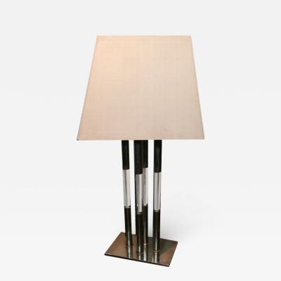 Chrome and Lucite Table Lamp