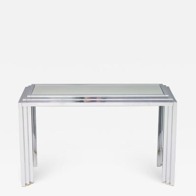 Chrome and Mirror Free Standing Console Table France 1974