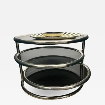 Chrome smoked glass 3 tier end table