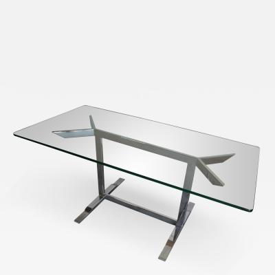 Chrome with glass top table desk