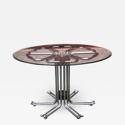Chromed steel and glass dining table 1970s
