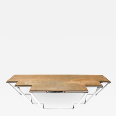 Chrysler Console in Hand Oxidized Brass and Hand Polished Stainless Steel