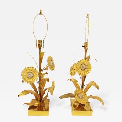 Chrystiane Charles Hollywood Regency Pair of Bronze Sunflower Table Lamps Chrystiane Charles Attr
