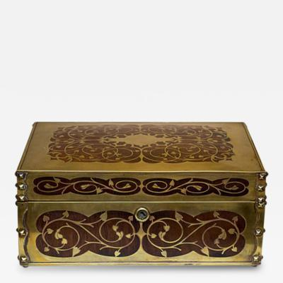 Cigar Humidor with Brass Inlaid England 19th Century