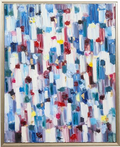 Cindy Shaoul Dripping Dots Hyde Park 2018 Oil Painting on Canvas Framed by Cindy Shaoul