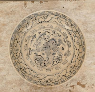Circa 1480 Annamese Charger Decorated with Flying Horse Vietnam