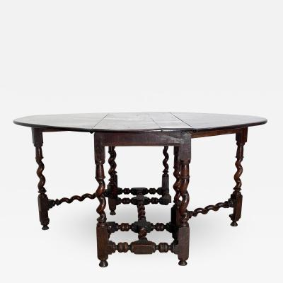 Circa 1640 Charles II Oak Drop Leaf Table England