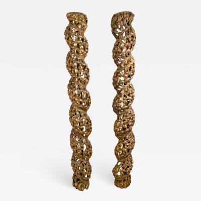 Circa 1700 Baroque Gilt Columns Spain Spanish Colonial A Pair