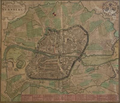 Circa 1732 Map of Nuremberg