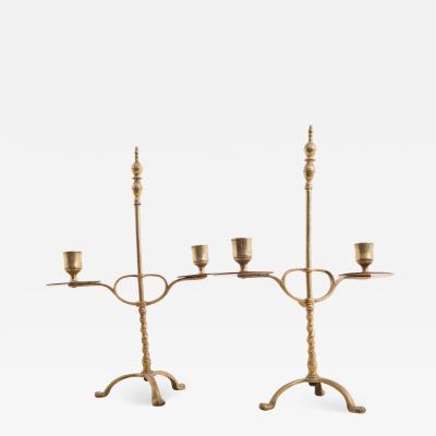 Circa 1750 Brass Candlesticks A Pair