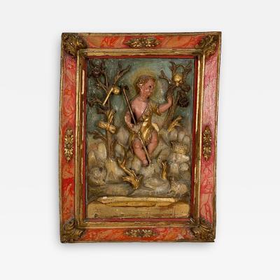 Circa 1750 Spanish Polychrome Wood Carving of St John