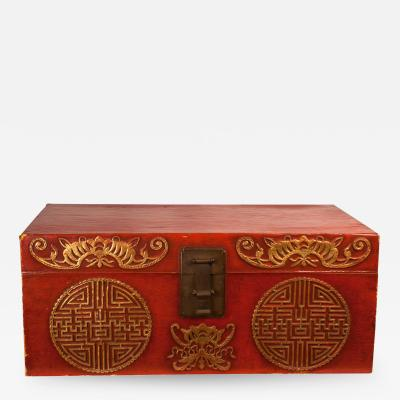 Circa 1780 Chinese Export Red Leather Trunk