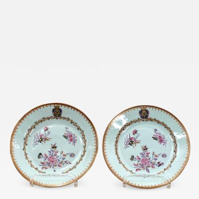 Circa 1780 Export Armorial Plates China A Pair