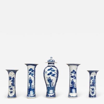 Circa 1800 Blue and White Garniture China 5 Piece Set
