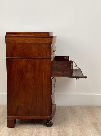 Circa 1820 Danish Small Mahogany Bow Front Chest with Childs Desk in Drawer