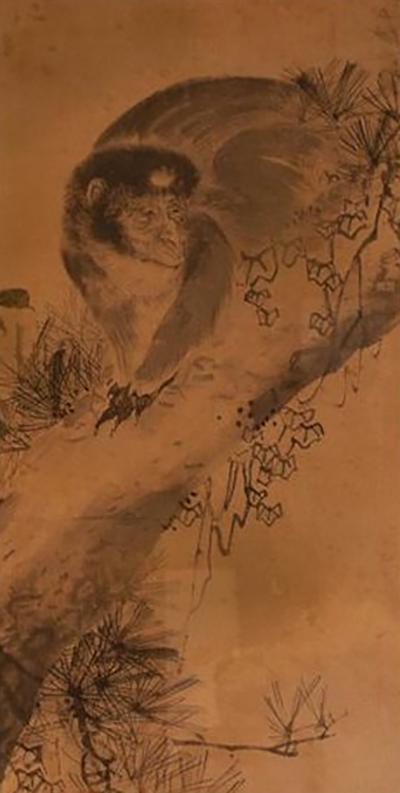 Circa 1820 Edo Period Japanese Ink on Paper Painting