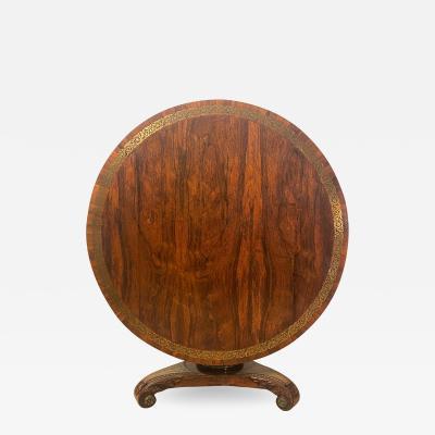 Circa 1820 Fine Rosewood Brass Pedestal Table