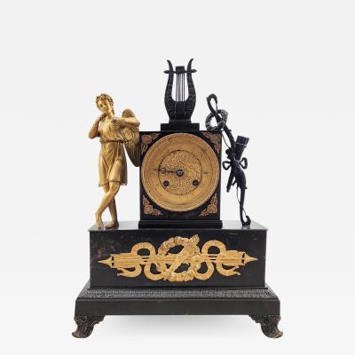 Circa 1820 French Empire Bronze and Ormolu Clock